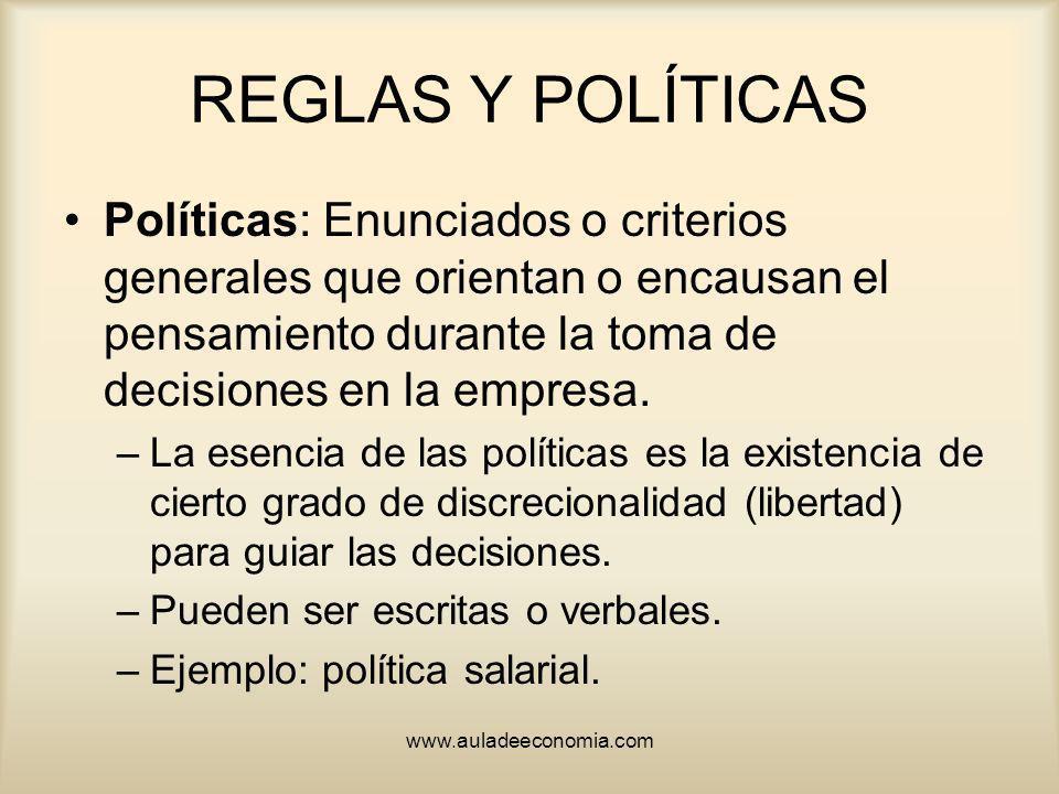 www.auladeeconomia.com REGLAS Y POLÍTICAS Políticas: Enunciados o criterios generales que orientan o encausan el pensamiento durante la toma de decisi