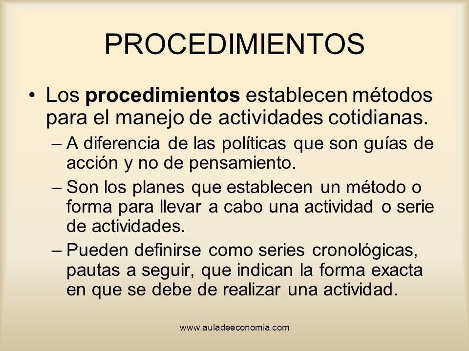 www.auladeeconomia.com PROCEDIMIENTOS Los procedimientos establecen métodos para el manejo de actividades cotidianas. –A diferencia de las políticas q