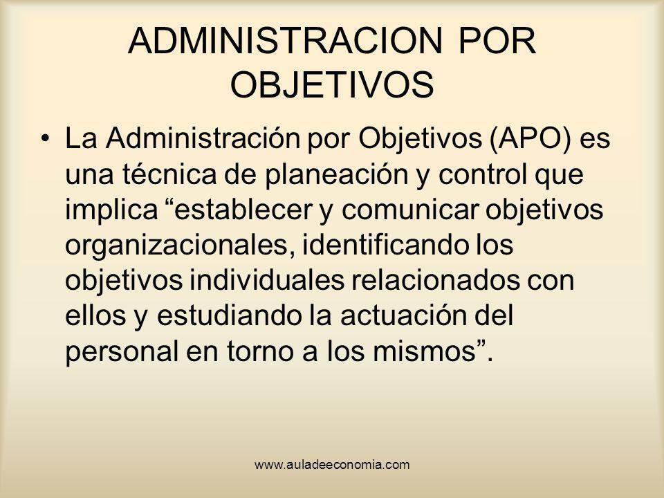 www.auladeeconomia.com ADMINISTRACION POR OBJETIVOS La Administración por Objetivos (APO) es una técnica de planeación y control que implica establece