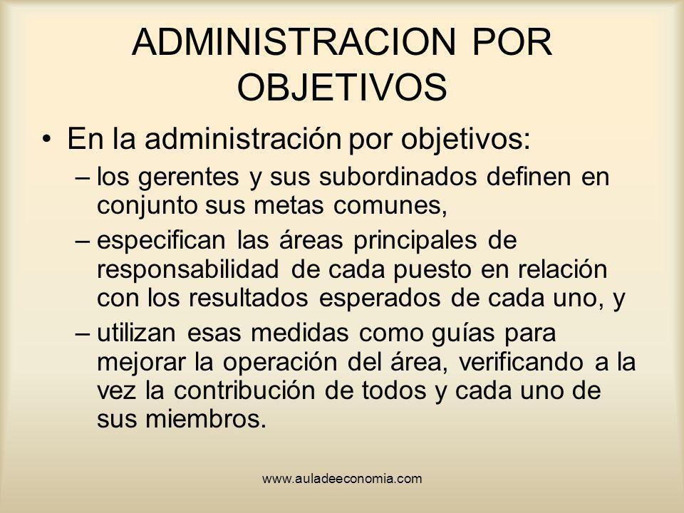 www.auladeeconomia.com ADMINISTRACION POR OBJETIVOS En la administración por objetivos: –los gerentes y sus subordinados definen en conjunto sus metas