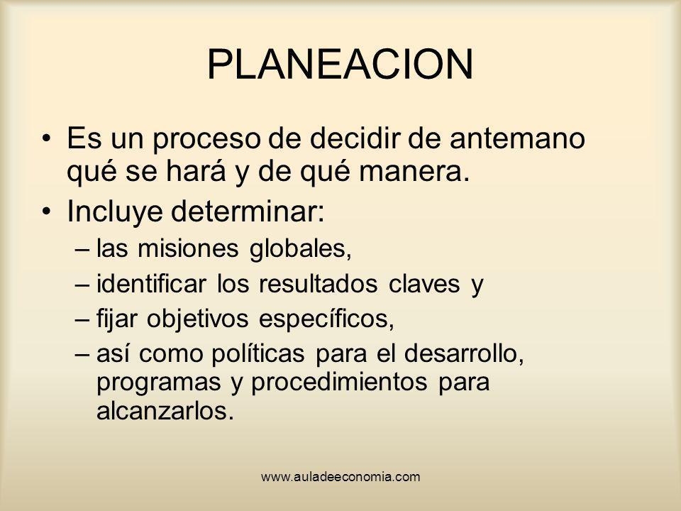 www.auladeeconomia.com PLANEACION Es un proceso de decidir de antemano qué se hará y de qué manera. Incluye determinar: –las misiones globales, –ident
