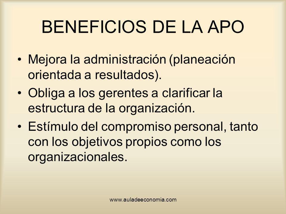 www.auladeeconomia.com BENEFICIOS DE LA APO Mejora la administración (planeación orientada a resultados). Obliga a los gerentes a clarificar la estruc