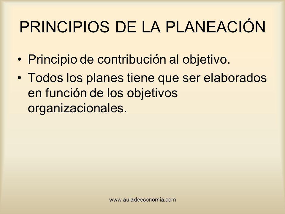 www.auladeeconomia.com PRINCIPIOS DE LA PLANEACIÓN Principio de contribución al objetivo. Todos los planes tiene que ser elaborados en función de los