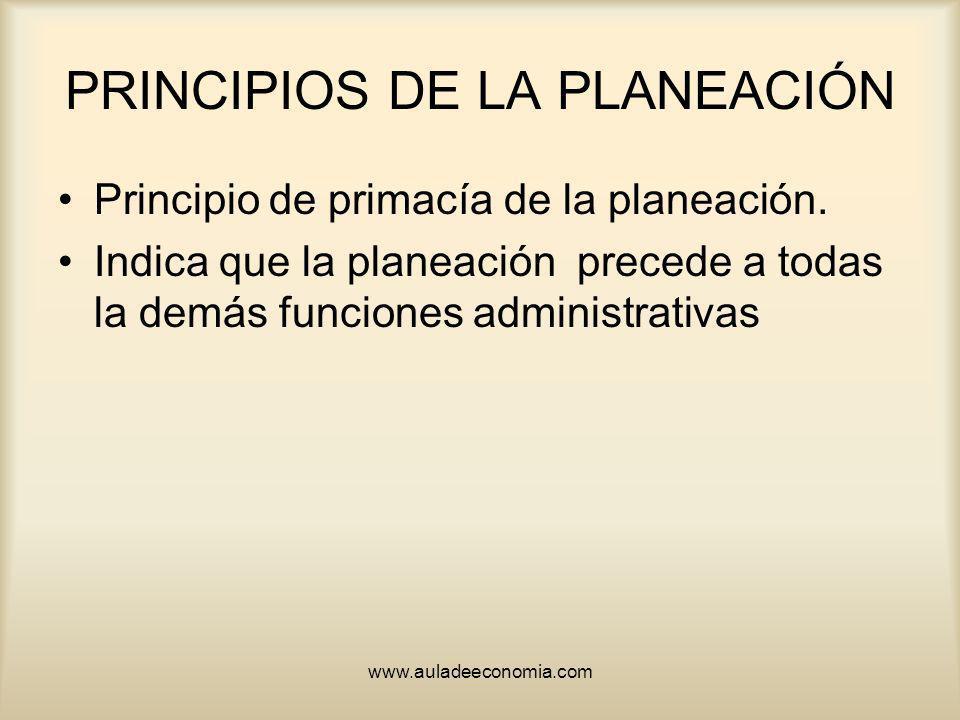 www.auladeeconomia.com PRINCIPIOS DE LA PLANEACIÓN Principio de primacía de la planeación. Indica que la planeación precede a todas la demás funciones