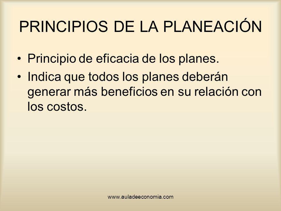 www.auladeeconomia.com PRINCIPIOS DE LA PLANEACIÓN Principio de eficacia de los planes. Indica que todos los planes deberán generar más beneficios en