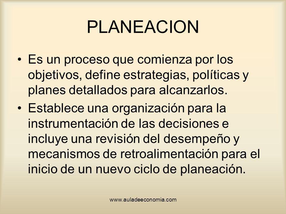 www.auladeeconomia.com PLANEACION Es un proceso que comienza por los objetivos, define estrategias, políticas y planes detallados para alcanzarlos. Es