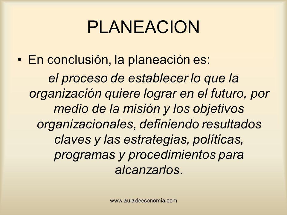 www.auladeeconomia.com PLANEACION En conclusión, la planeación es: el proceso de establecer lo que la organización quiere lograr en el futuro, por med