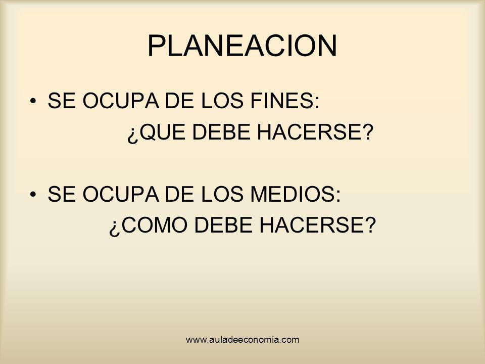 www.auladeeconomia.com PLANEACION SE OCUPA DE LOS FINES: ¿QUE DEBE HACERSE? SE OCUPA DE LOS MEDIOS: ¿COMO DEBE HACERSE?