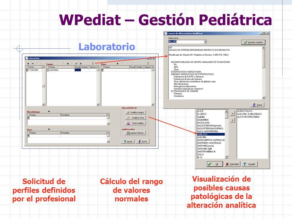 WPediat – Gestión Pediátrica Vacunas Posibilidad de incluir los datos de las vacunas según el calendario de su comunidad Aviso de aquellas vacunas que