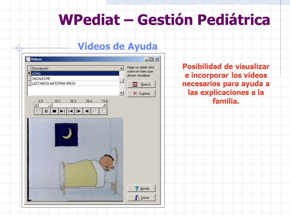 WPediat – Gestión Pediátrica Gráficos de Ayuda Incorporación de todo tipo de gráficos de apoyo a la educación sanitaria.