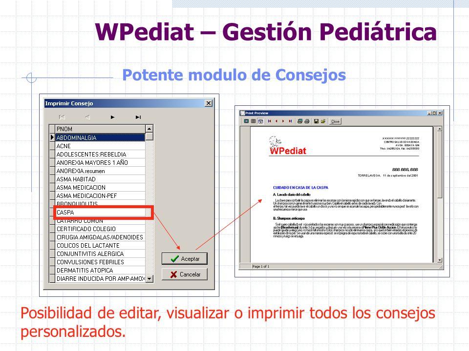 WPediat – Gestión Pediátrica Indicación visual de secciones utilizadas Sección en la que se ha introducido datos Sección en la que NO se ha introducid