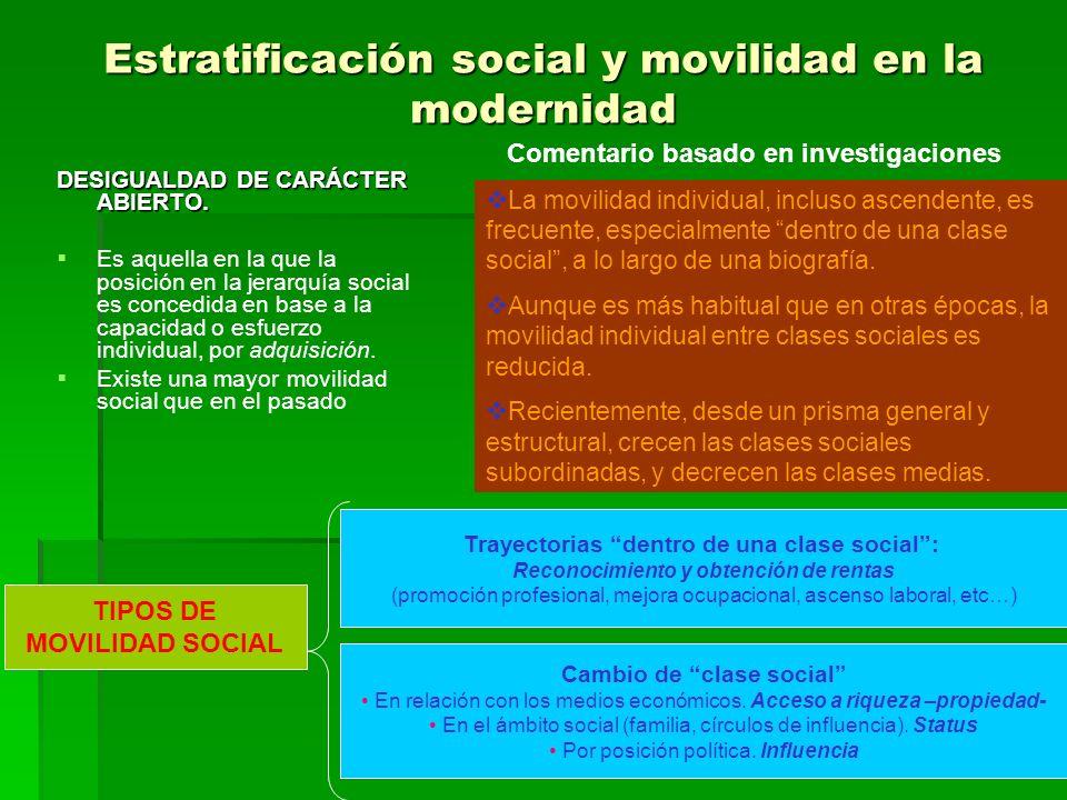 Estratificación social y movilidad en la modernidad DESIGUALDAD DE CARÁCTER ABIERTO. Es aquella en la que la posición en la jerarquía social es conced