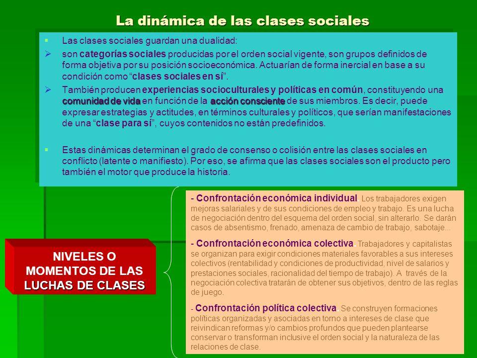 La dinámica de las clases sociales Las clases sociales guardan una dualidad: son categorías sociales producidas por el orden social vigente, son grupo