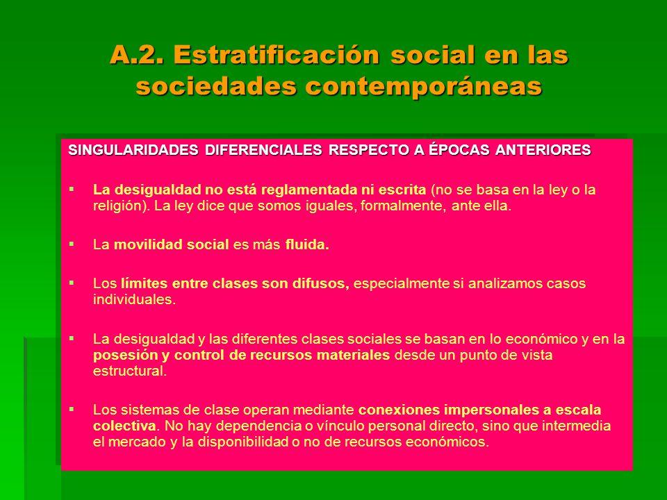 A.2. Estratificación social en las sociedades contemporáneas SINGULARIDADES DIFERENCIALES RESPECTO A ÉPOCAS ANTERIORES La desigualdad no está reglamen