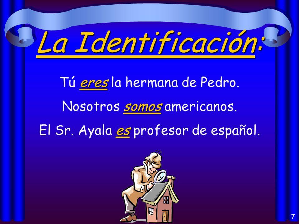 7 La Identificación: eres Tú eres la hermana de Pedro.