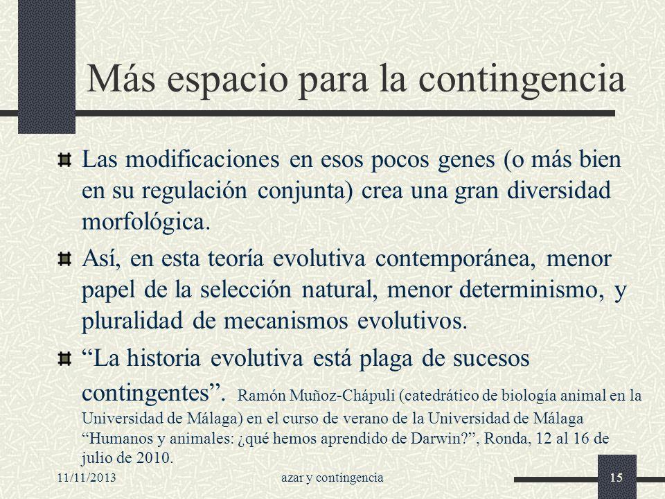 11/11/2013azar y contingencia15 Más espacio para la contingencia Las modificaciones en esos pocos genes (o más bien en su regulación conjunta) crea un