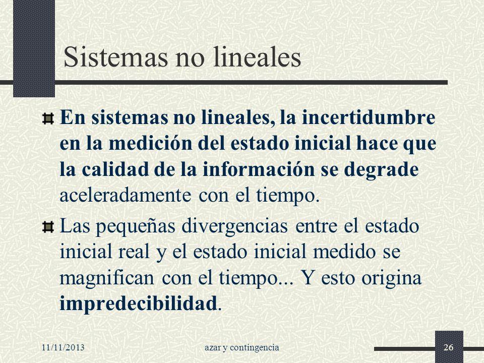 11/11/2013azar y contingencia26 Sistemas no lineales En sistemas no lineales, la incertidumbre en la medición del estado inicial hace que la calidad d
