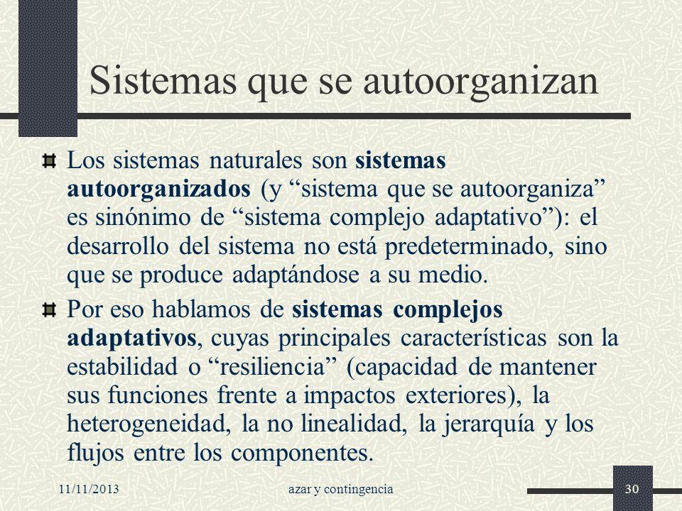 11/11/2013azar y contingencia30 Sistemas que se autoorganizan Los sistemas naturales son sistemas autoorganizados (y sistema que se autoorganiza es si