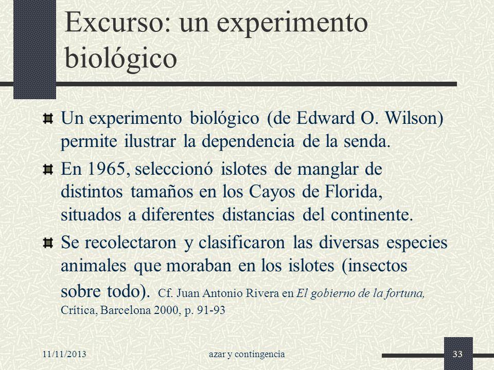 11/11/2013azar y contingencia33 Excurso: un experimento biológico Un experimento biológico (de Edward O. Wilson) permite ilustrar la dependencia de la