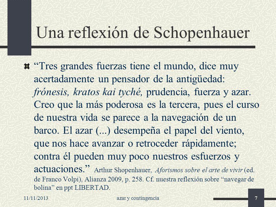 11/11/2013azar y contingencia7 Una reflexión de Schopenhauer Tres grandes fuerzas tiene el mundo, dice muy acertadamente un pensador de la antigüedad: