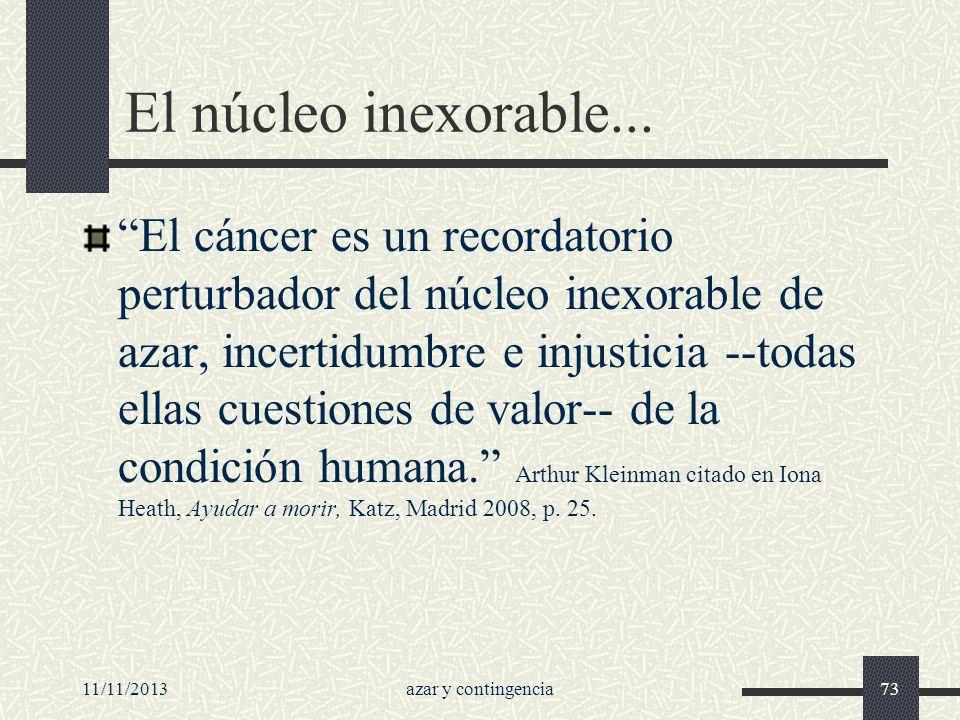 11/11/2013azar y contingencia73 El núcleo inexorable... El cáncer es un recordatorio perturbador del núcleo inexorable de azar, incertidumbre e injust