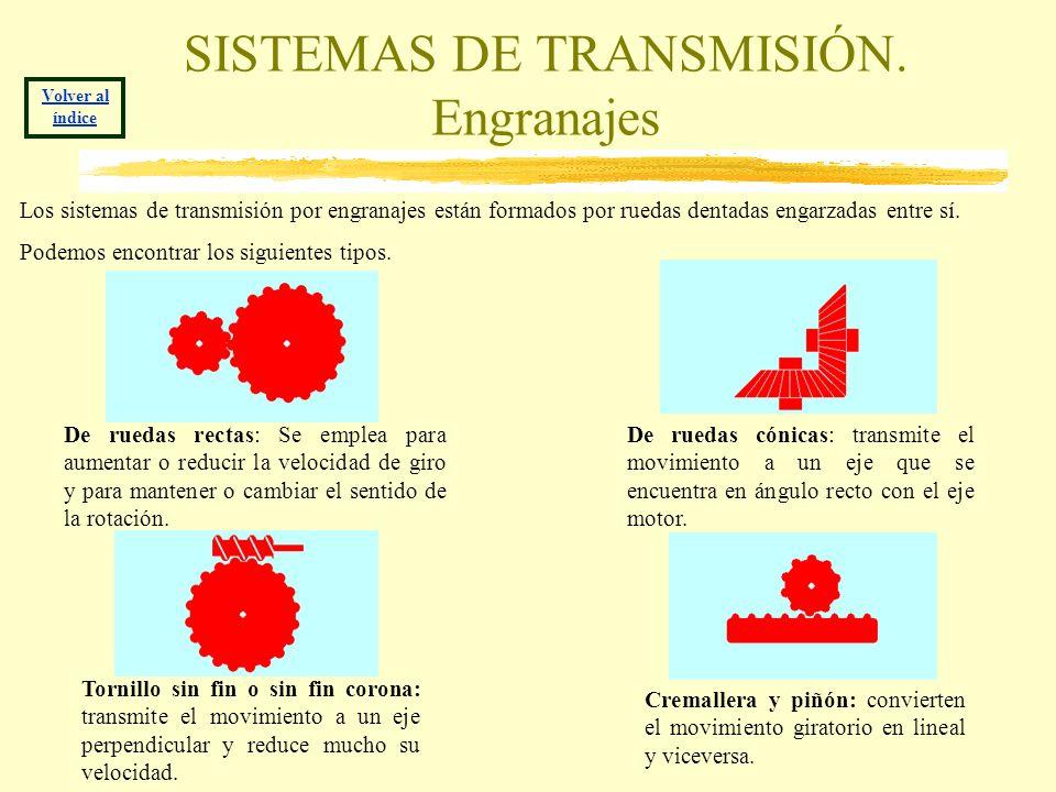SISTEMAS DE TRANSMISIÓN. Engranajes Volver al índice De ruedas rectas: Se emplea para aumentar o reducir la velocidad de giro y para mantener o cambia