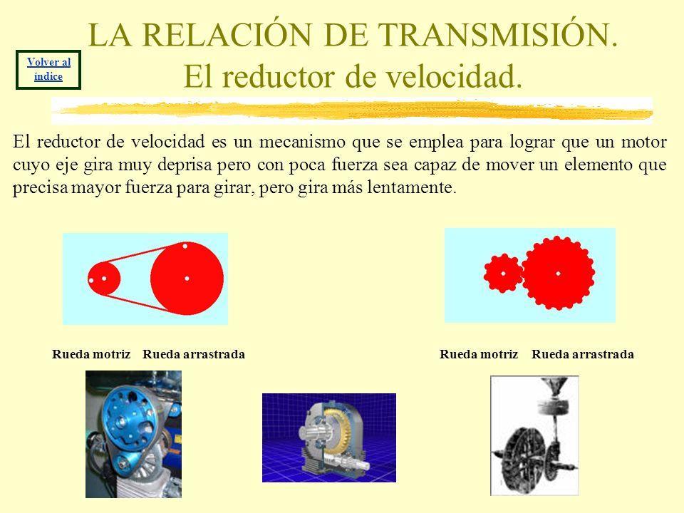 LA RELACIÓN DE TRANSMISIÓN. El reductor de velocidad. El reductor de velocidad es un mecanismo que se emplea para lograr que un motor cuyo eje gira mu