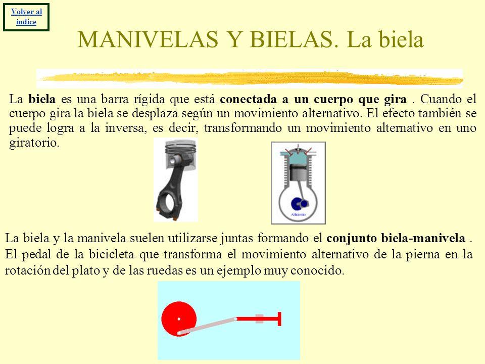 MANIVELAS Y BIELAS. La biela La biela es una barra rígida que está conectada a un cuerpo que gira. Cuando el cuerpo gira la biela se desplaza según un