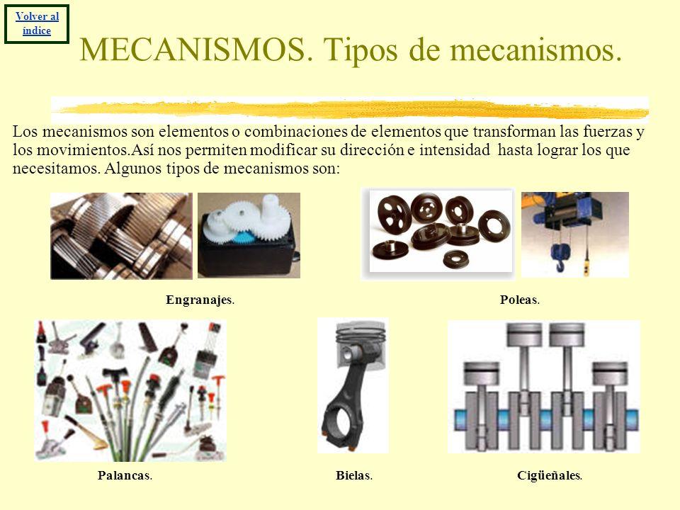 MECANISMOS. Tipos de mecanismos. Los mecanismos son elementos o combinaciones de elementos que transforman las fuerzas y los movimientos.Así nos permi