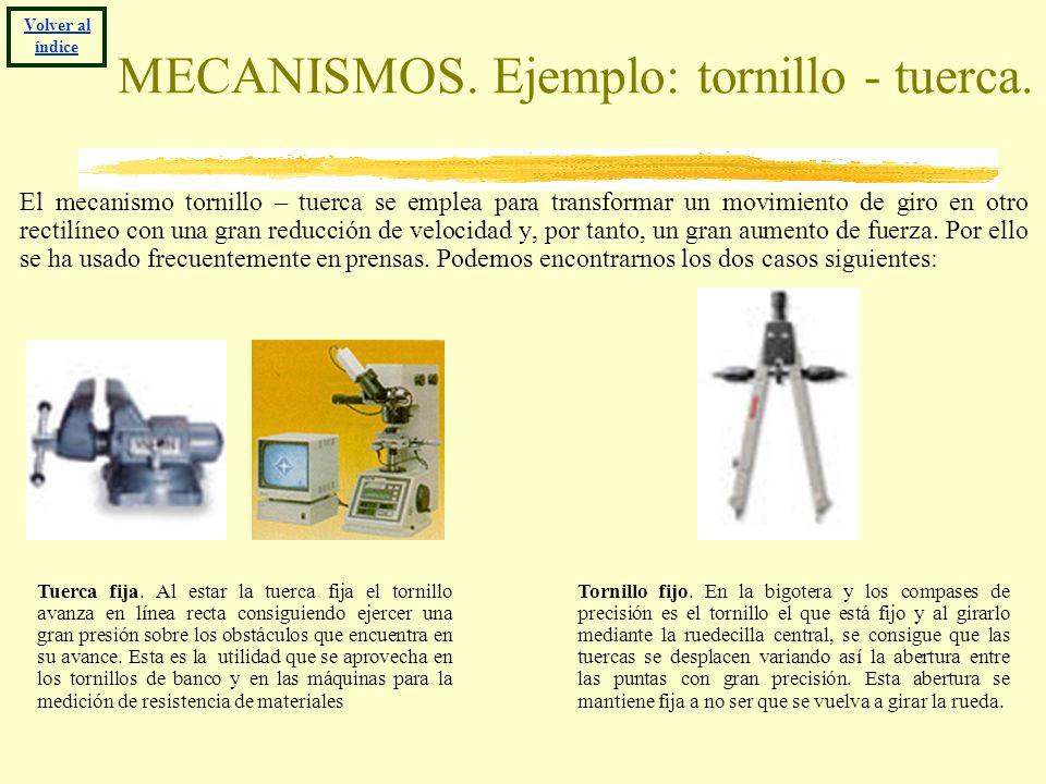 MECANISMOS. Ejemplo: tornillo - tuerca. El mecanismo tornillo – tuerca se emplea para transformar un movimiento de giro en otro rectilíneo con una gra