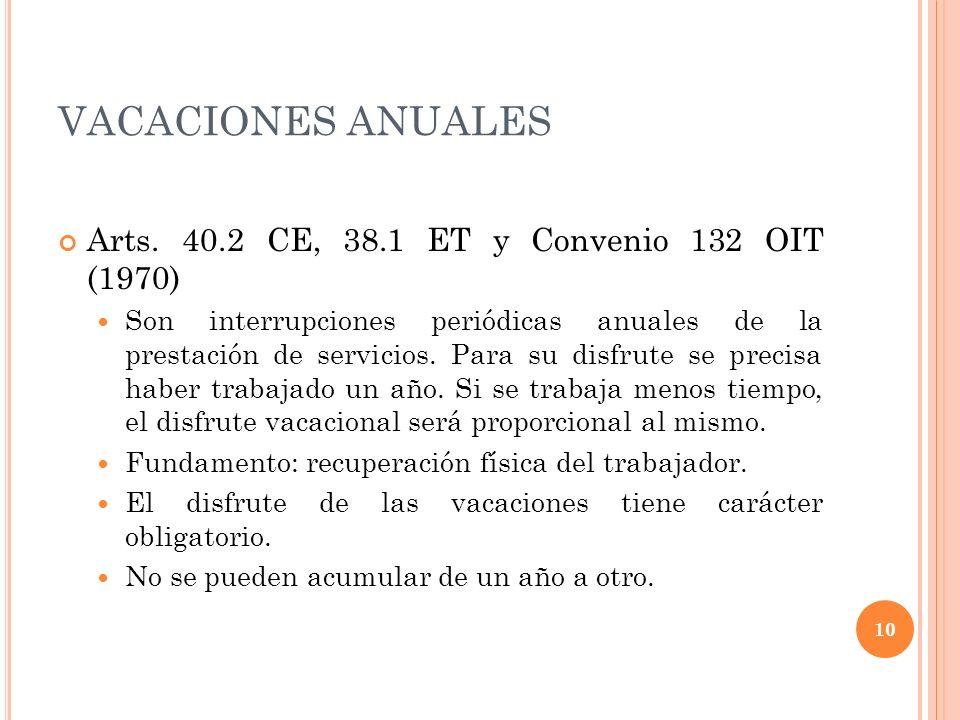 VACACIONES ANUALES Arts. 40.2 CE, 38.1 ET y Convenio 132 OIT (1970) Son interrupciones periódicas anuales de la prestación de servicios. Para su disfr