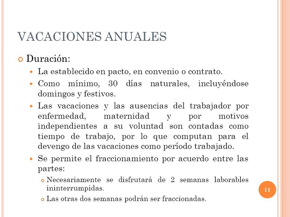 VACACIONES ANUALES Duración: La establecido en pacto, en convenio o contrato. Como mínimo, 30 días naturales, incluyéndose domingos y festivos. Las va