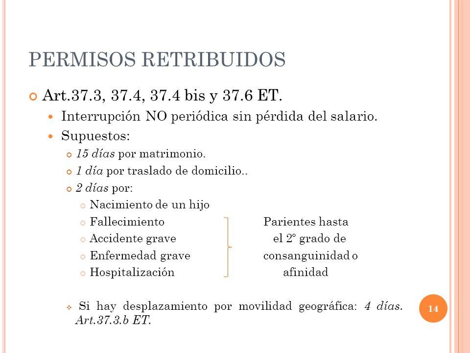 PERMISOS RETRIBUIDOS Art.37.3, 37.4, 37.4 bis y 37.6 ET. Interrupción NO periódica sin pérdida del salario. Supuestos: 15 días por matrimonio. 1 día p