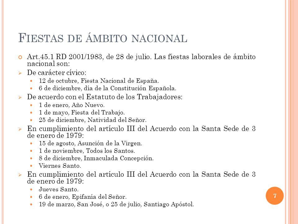 F IESTAS DE ÁMBITO NACIONAL Art.45.1 RD 2001/1983, de 28 de julio. Las fiestas laborales de ámbito nacional son: De carácter cívico: 12 de octubre, Fi