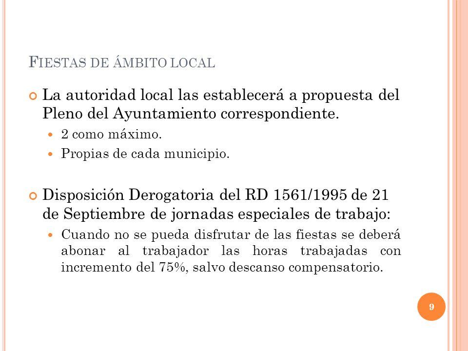 F IESTAS DE ÁMBITO LOCAL La autoridad local las establecerá a propuesta del Pleno del Ayuntamiento correspondiente. 2 como máximo. Propias de cada mun