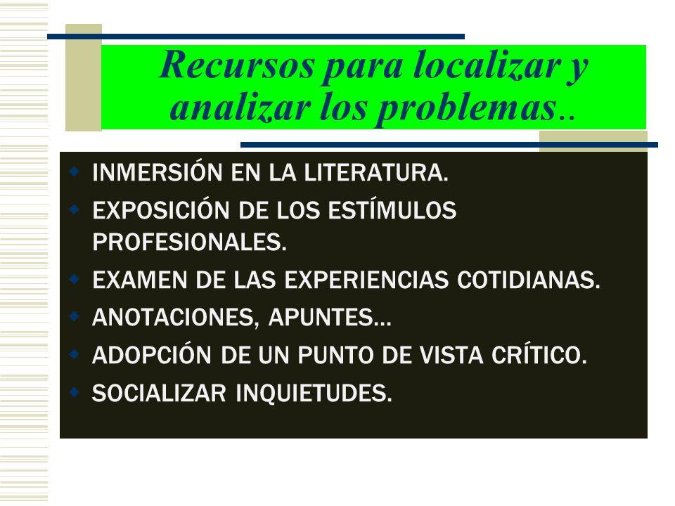 Recursos para localizar y analizar los problemas.. INMERSIÓN EN LA LITERATURA. EXPOSICIÓN DE LOS ESTÍMULOS PROFESIONALES. EXAMEN DE LAS EXPERIENCIAS C