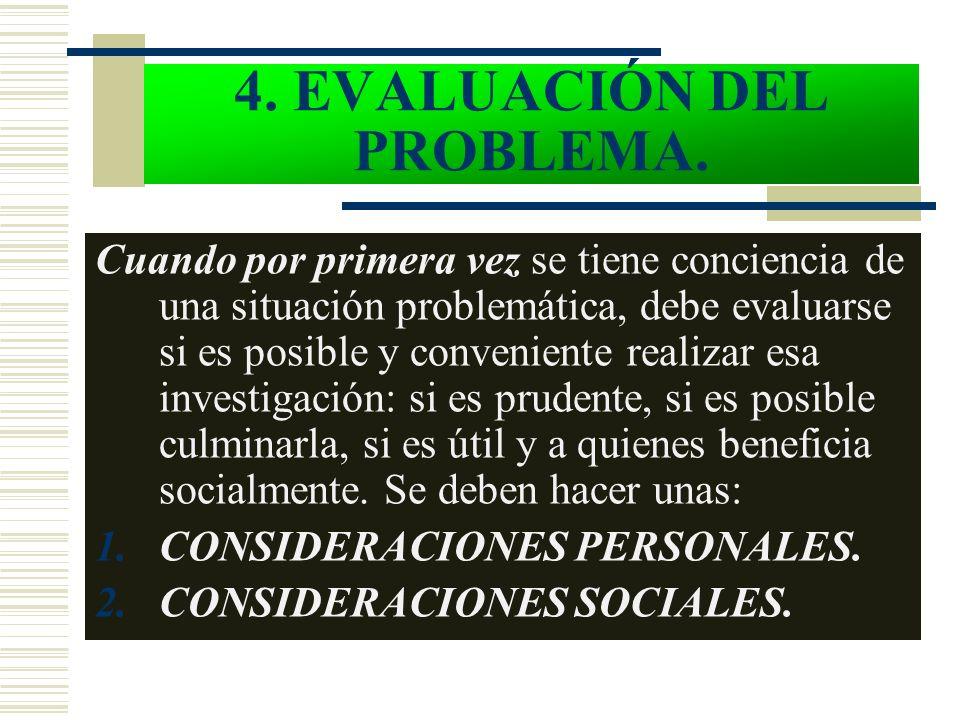 4. EVALUACIÓN DEL PROBLEMA. Cuando por primera vez se tiene conciencia de una situación problemática, debe evaluarse si es posible y conveniente reali