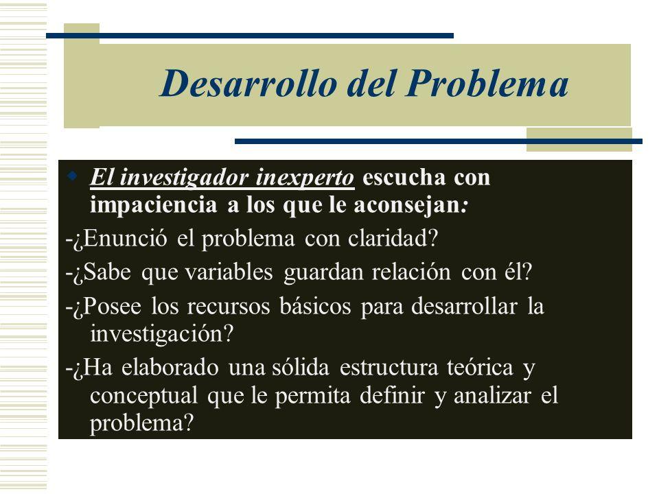 Desarrollo del Problema El investigador inexperto escucha con impaciencia a los que le aconsejan: -¿Enunció el problema con claridad? -¿Sabe que varia
