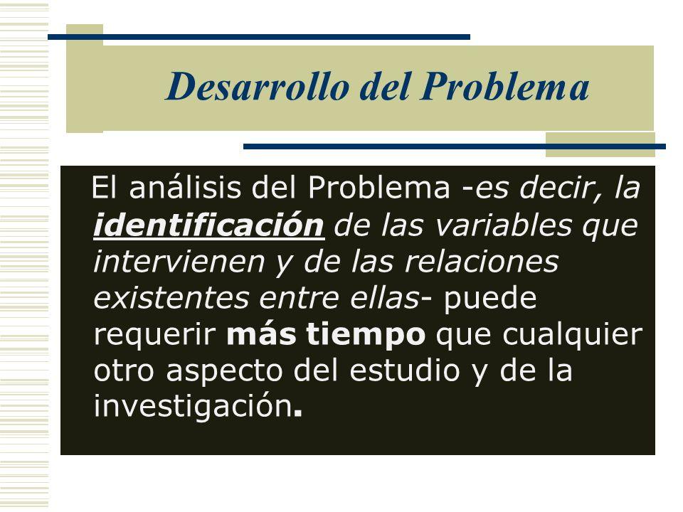 Desarrollo del Problema El análisis del Problema -es decir, la identificación de las variables que intervienen y de las relaciones existentes entre el