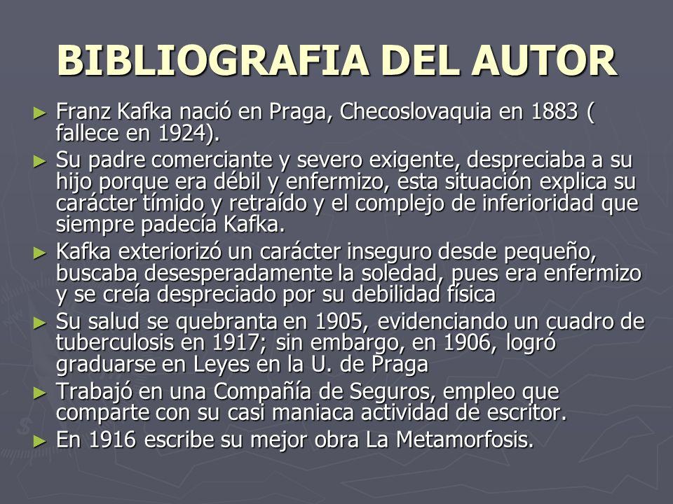 BIBLIOGRAFIA DEL AUTOR Franz Kafka nació en Praga, Checoslovaquia en 1883 ( fallece en 1924). Franz Kafka nació en Praga, Checoslovaquia en 1883 ( fal