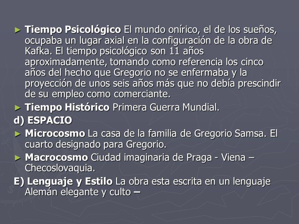 Personajes Gregorio Samsa: Un joven que trabaja para poder mantener a su familia, un día despierta transformado en un insecto, lo que le impide trabajar y provoca la ruina financiera de su familia.