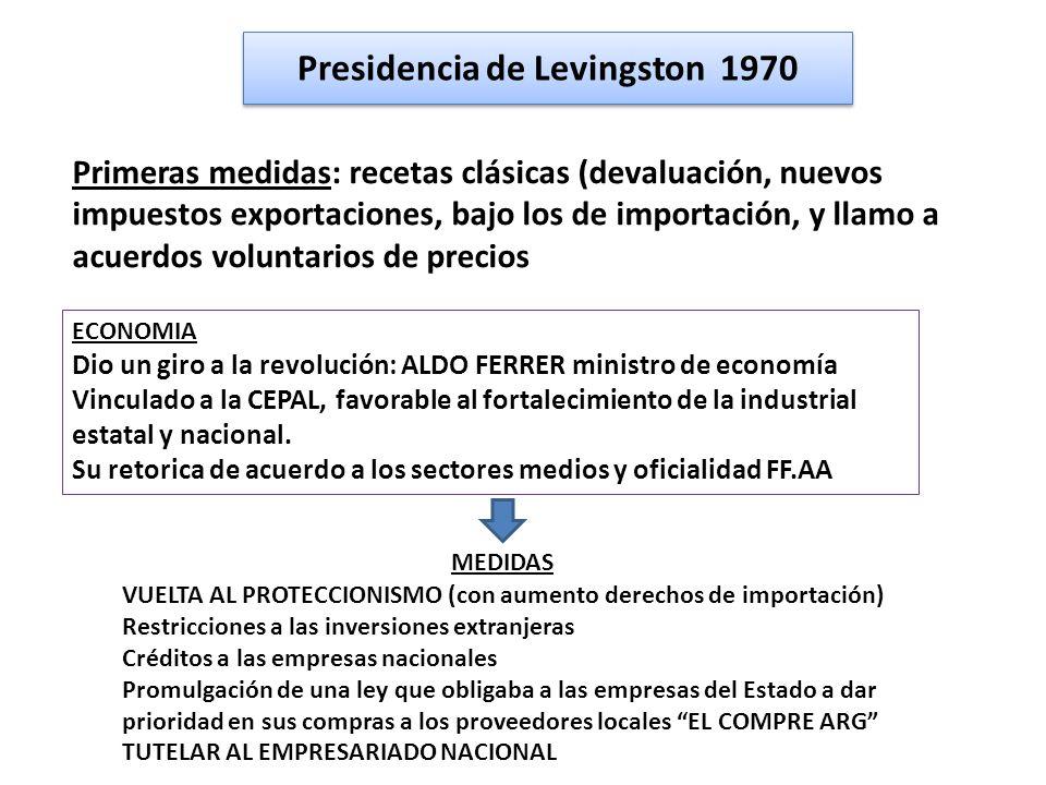 Presidencia de Levingston 1970 Primeras medidas: recetas clásicas (devaluación, nuevos impuestos exportaciones, bajo los de importación, y llamo a acu