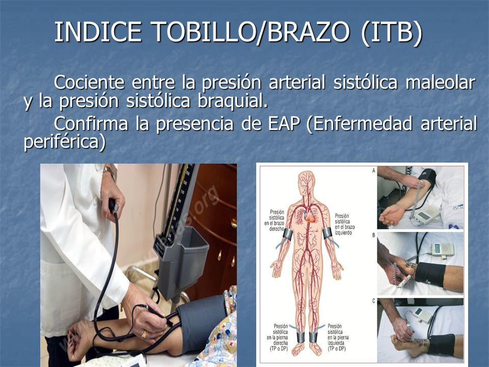 INDICE TOBILLO/BRAZO (ITB) Cociente entre la presión arterial sistólica maleolar y la presión sistólica braquial. Confirma la presencia de EAP (Enferm