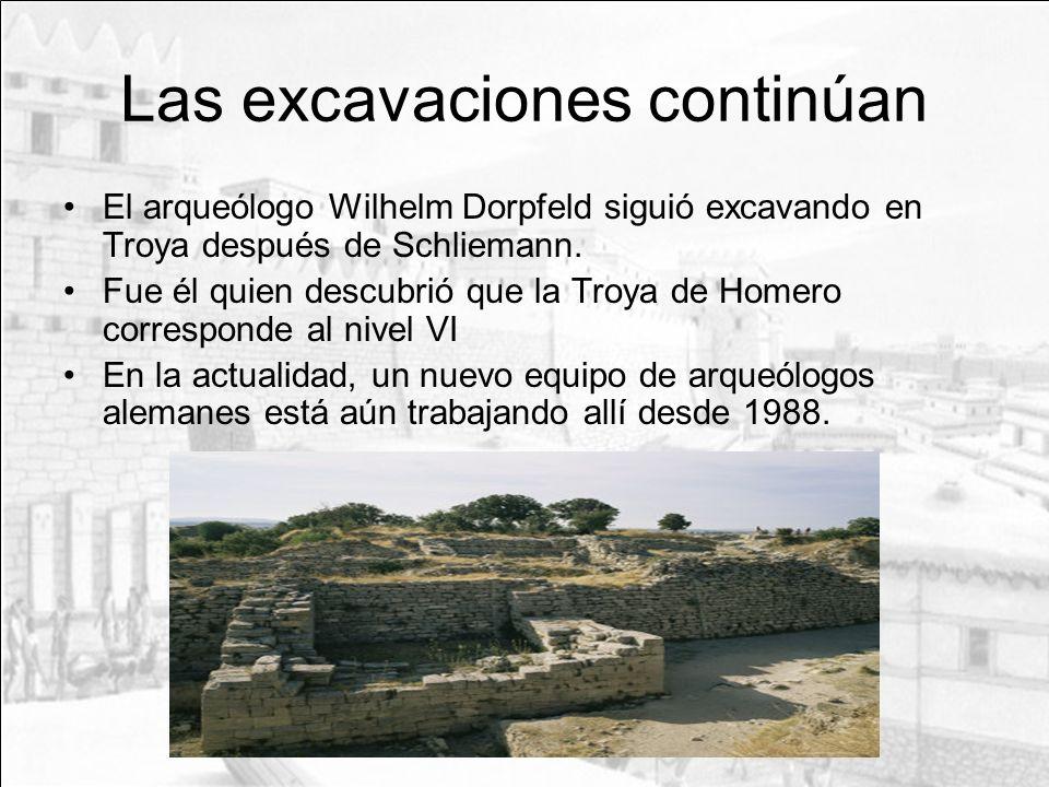 Las excavaciones continúan El arqueólogo Wilhelm Dorpfeld siguió excavando en Troya después de Schliemann. Fue él quien descubrió que la Troya de Home