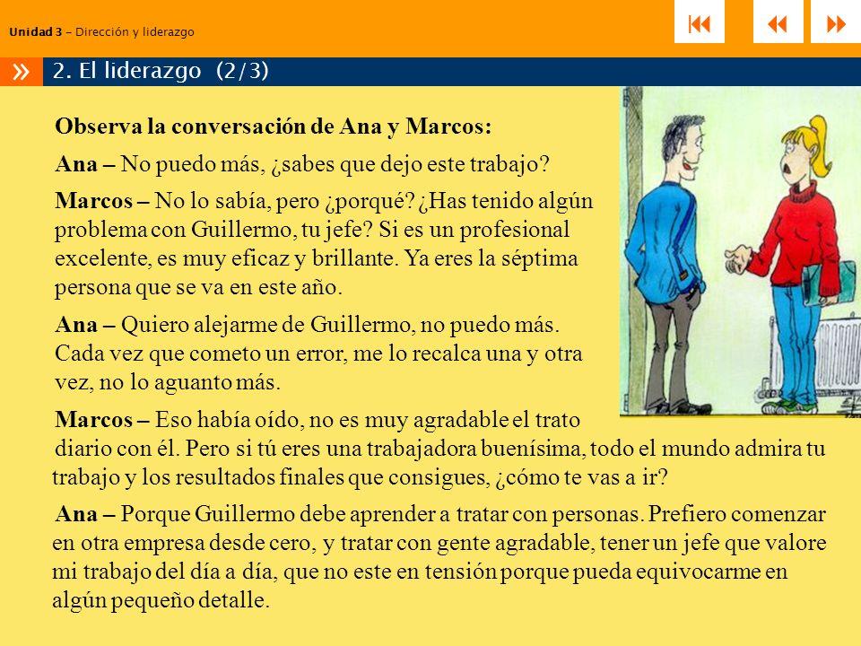 Observa la conversación de Ana y Marcos: Ana – No puedo más, ¿sabes que dejo este trabajo? Marcos – No lo sabía, pero ¿porqué? ¿Has tenido algún probl