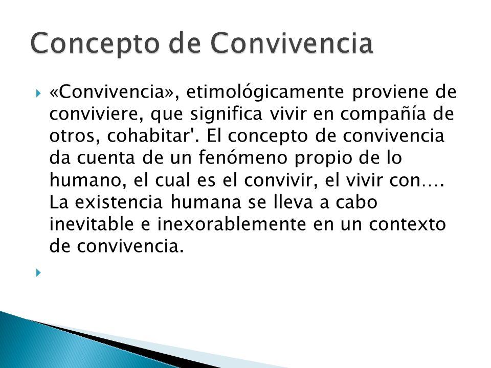 «Convivencia», etimológicamente proviene de conviviere, que significa vivir en compañía de otros, cohabitar'. El concepto de convivencia da cuenta de