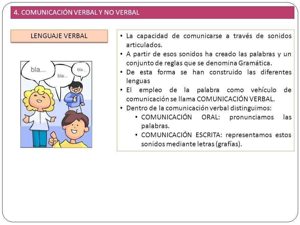 12 4. COMUNICACIÓN VERBAL Y NO VERBAL LENGUAJE VERBAL La capacidad de comunicarse a través de sonidos articulados. A partir de esos sonidos ha creado