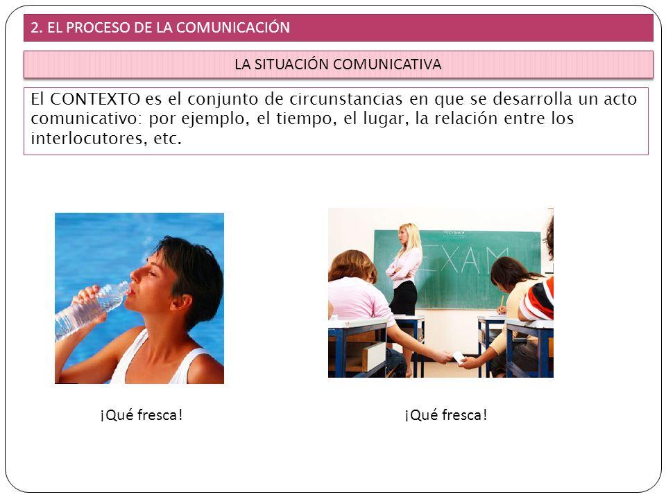 LA SITUACIÓN COMUNICATIVA El CONTEXTO es el conjunto de circunstancias en que se desarrolla un acto comunicativo: por ejemplo, el tiempo, el lugar, la