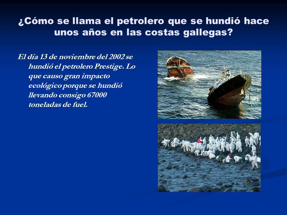 ¿Cómo se llama el petrolero que se hundió hace unos años en las costas gallegas? El día 13 de noviembre del 2002 se hundió el petrolero Prestige. Lo q