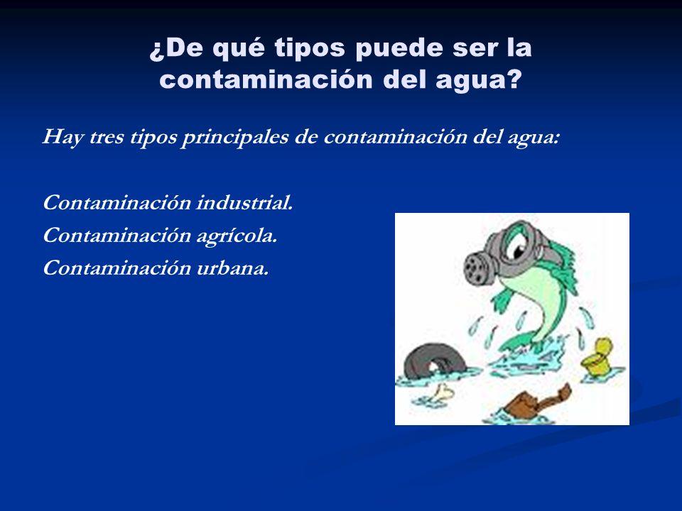 ¿De qué tipos puede ser la contaminación del agua? Hay tres tipos principales de contaminación del agua: Contaminación industrial. Contaminación agríc